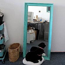 Zrkadlá - Tyrkysové vintage zrkadlo - predané - 7096117_