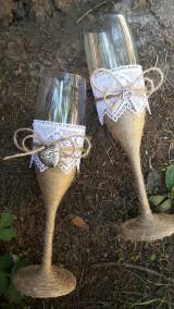 Nádoby - Vintage svadobne pohare,,kluc od mojho srdca,, ❤ - 7099572_