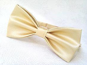 Doplnky - Svadobný pánsky motýlik (svetlo-zlatý) - 7099517_