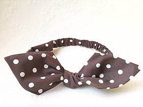 Ozdoby do vlasov - Pin Up headband on elastic (brown with white polka dots) - 7099596_