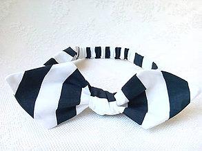 Ozdoby do vlasov - Pin Up headband on elastic (black&white stripes) - 7100069_