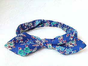 Ozdoby do vlasov - Pin Up headband on elastic for kids (blue with flowers) - 7100311_