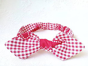 Ozdoby do vlasov - Pin Up headband on elastic for kids (red/white) - 7100367_