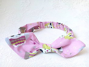 Ozdoby do vlasov - Pin Up headband on elastic for kids (pink/cute owls) - 7100370_