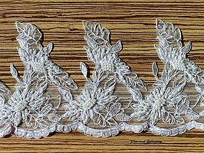 Galantéria - Krajka 170 mm vyšívaná perličkami - biela - cena za 10 cm - 7100488_