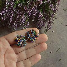 Náušnice - Multicolour baldachins - vyšívané puzety - 7100149_