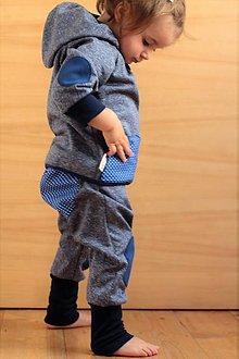 Detské oblečenie - Detské softshellové nohavice k bundičke s bodkovanou záplatou - 7099422_