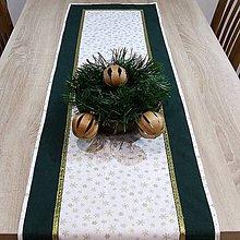 Úžitkový textil - Zlaté vločky na bielej so zelenou - stredový obrus 166x41 - 7098711_