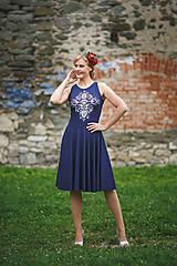 Šaty - Maľba na tmavomodré šaty... - 7099295_