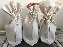 Úžitkový textil - Ľanové vrecúško z ručne tkaného ľanu s červeným lemom - 7098848_