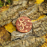 Odznaky/Brošne - Drevená brošňa ornamenty - 7099412_