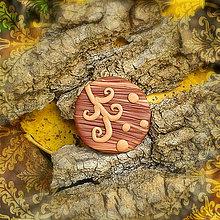 Odznaky/Brošne - FIMO drevené brošne hravé (ornamenty) - 7099412_