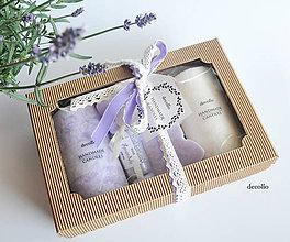 Svietidlá a sviečky - Lavender - darčeková krabička - na objednávku - 7102660_