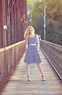 Šaty - SLEVA! Origami sailor - blue stripes - 7102481_