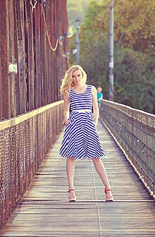 Šaty - Origami sailor - blue stripes - 7102481_