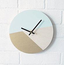 Hodiny - Nástenné hodiny Mentolovo-zlaté - 7101825_