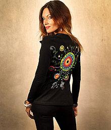 Kabáty - Čierne sako s maľovaným ornamentom - 7102239_