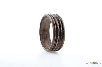 Prstene - Drevený prsteň Orech čiary - 7102110_