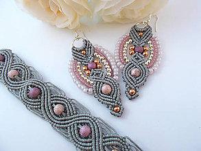 Sady šperkov - Šedý makramé set šperkov náramok a náušnice - 7102723_