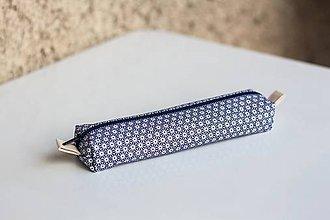 Taštičky - Bielo-modrý vzorovaný peračník - 7105144_