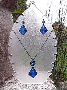 Sady šperkov - Modré šarkany s kamienkami - 7106302_