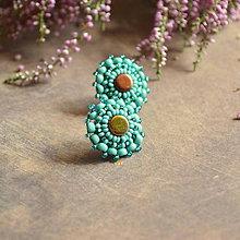 Náušnice - Turquoise baldachins - vyšívané puzety - 7105251_