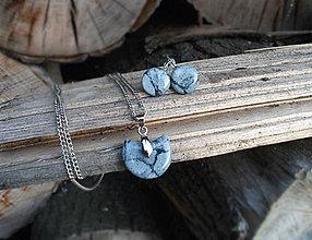 Sady šperkov - ...MRAMOR... sada náhrdelník, visiace náušnice v sivej - 7104291_