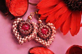 Náušnice - Visiace ružovo - medené náušnice - 7105112_