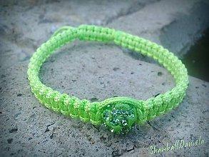 Náramky - Zelený náramok so shamballa korálkou - 7105918_