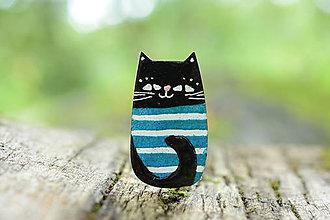 Odznaky/Brošne - mačka s pruhy - 7103766_