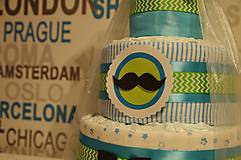"""Detské doplnky - Plienková torta """"Moustache"""" - 7105842_"""