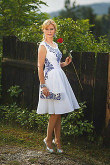 Šaty - Biele maľované šaty s kruhovou sukňou... - 7103568_