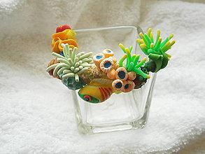 Svietidlá a sviečky - Svietnik sklenený, radostne pod hladinou - 7104676_