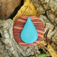 Odznaky/Brošne - FIMO drevené brošne - prírodné motívy (kvapka vody NA ZÁKAZKU) - 7105264_