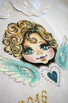 Detské oblečenie - košieľka na krst s anjelikom - modrá I - 7107571_
