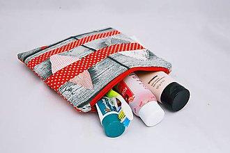 Taštičky - Taštička na kozmetiku červeno-šedá I. - 7107564_