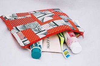 Taštičky - Taštička na kozmetiku červeno-šedá II. - 7107573_