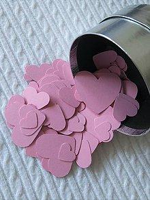 Papier - srdiečka - konfety - ružové - 7106846_
