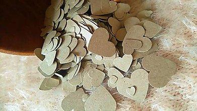 Papiernictvo - srdiečka - konfety - recy papier hnedý - 7106960_