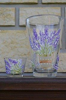 Dekorácie - Váza s levanduľou + svietnik - 7108578_
