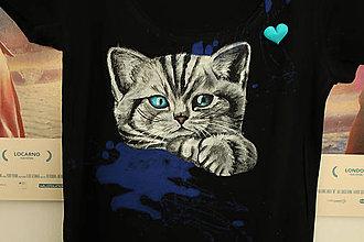 Tričká - Maľované tričko cica - 7106829_