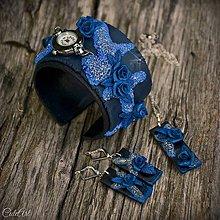 Náramky - Ruže v modrom - sada hodiniek a šperkov - 7109617_