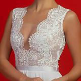 Šaty - Svadobné šaty s elastickým živôtikom a kruhovou šifónovou sukňou - 7108166_
