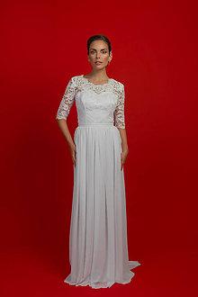 ff6e13341b46 Šaty - Svadobné šaty s tri-štvrťovým rukávom a šifónovou nazbieranou sukňou  - 7108071