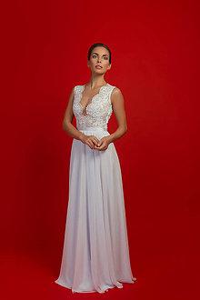 Šaty - Svadobné šaty s elastickým živôtikom a kruhovou šifónovou sukňou - 7108170_