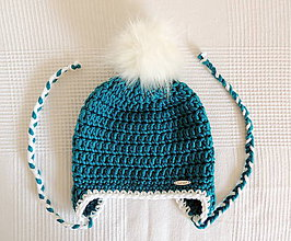 Detské čiapky - Tyrkysová zimná čiapka s kožušinovým brmbolcom - 7107507_