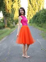 - Tylová sukňa oranžová midi ZĽAVA!!! - 7112261_