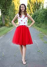 - Tylová sukňa červená midi - 7112284_