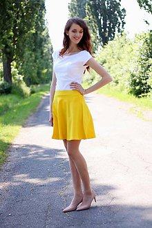 Sukne - Sukňa pol kruhová sýto žltá - 7110517_