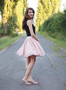 Sukne - Sukňa s čipkou bledo ružová - 7110637_